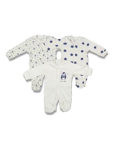 By Bebek Odam By Bebek Odamv Yaka Uzun Kol Penguen Ve Yıldız Baskılı 3'Lü  Bebek Tulum Set Renkli